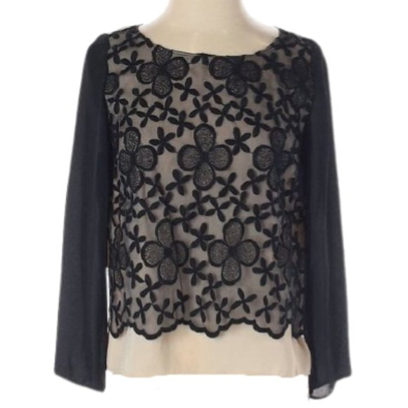 ERIN FETHERSTON NUDE BLACK EMBROIDERED FLORAL TOP